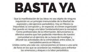 ¡Basta ya de violencia contra periodistas en México!