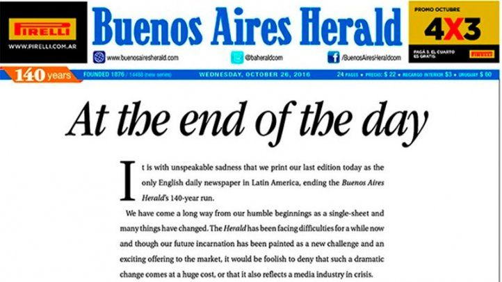 Cierre del Buenos Aires Herald después de 140 años