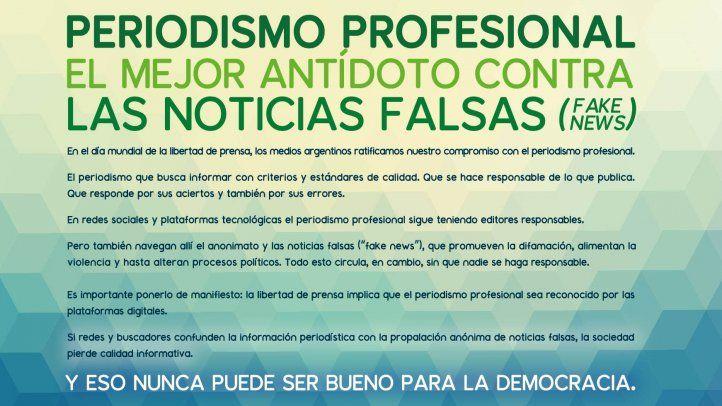 Medios argentinos defienden valor del periodismo profesional en el día de la libertad de prensa