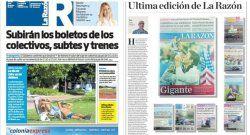 Diario gratuito La Razón distribuye su última edición