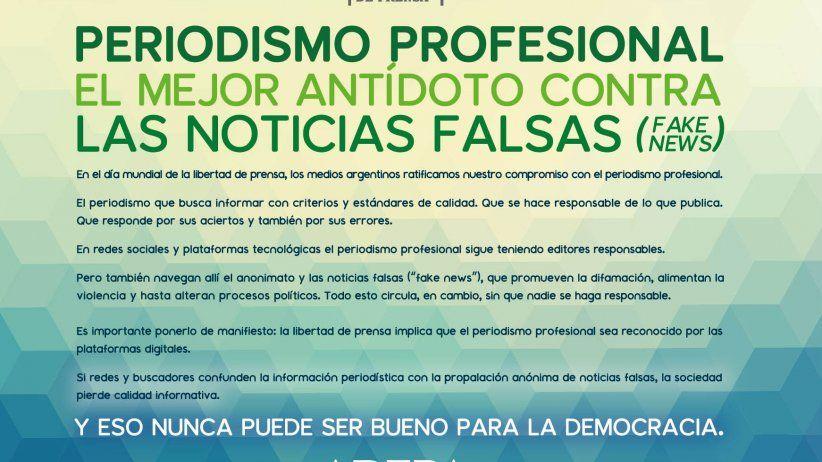 Medios argentinos defienden valor del periodismo profesional en el día mundial de la libertad de prensa