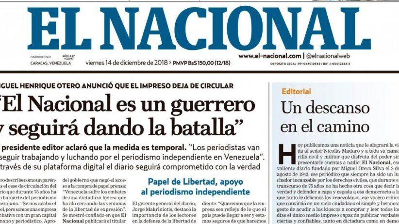 IAPA calls punitive and outrageous the mega-million dollar sentence against El Nacional